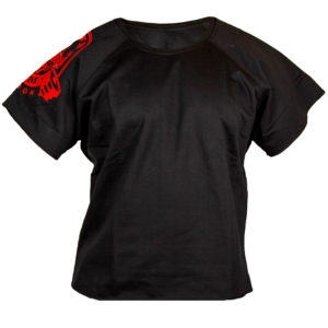 Black T-Shirt with Red Arm Logo