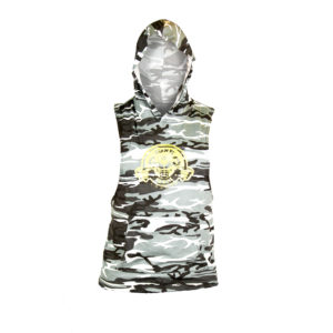 White and Black Camo Sleeveless Hoody